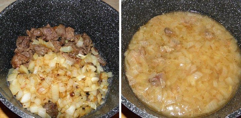 тушеное мясо с подливой
