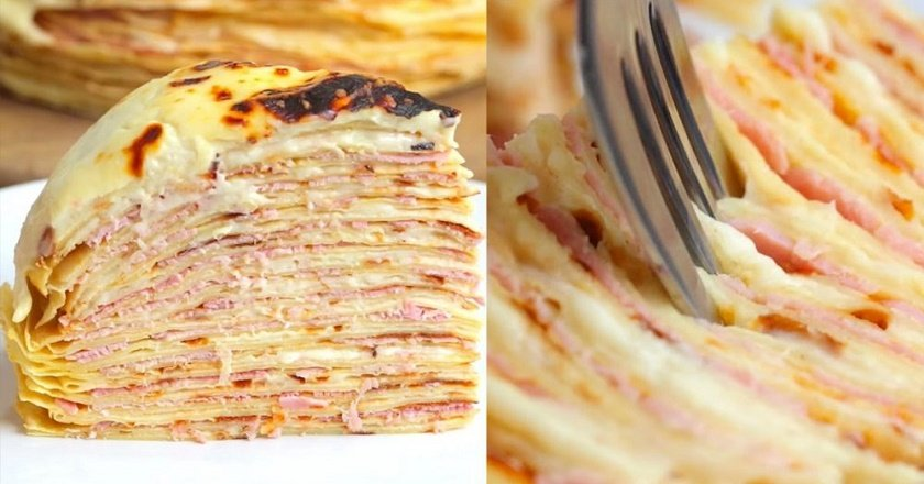 Несолодкий млинцевий торт - готуємо з покроковими фото
