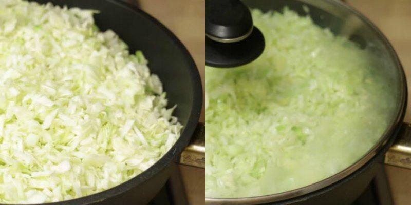 молодая капуста в сковороде