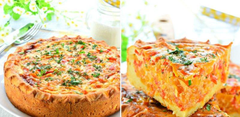 открытый пирог с овощами