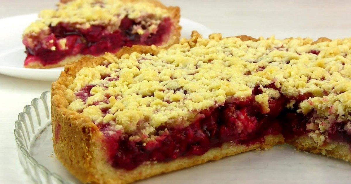 Відкритий пісочний пиріг з ягодами подивитися рецепт