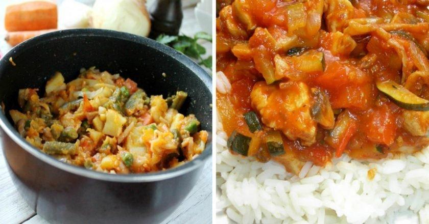 Овочеве рагу з куркою і кабачками подивитися рецепт