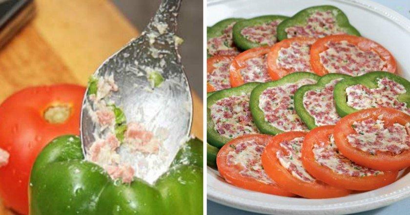 Фаршированный перец и помидоры