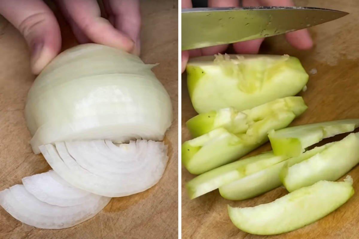 лук и яблоко