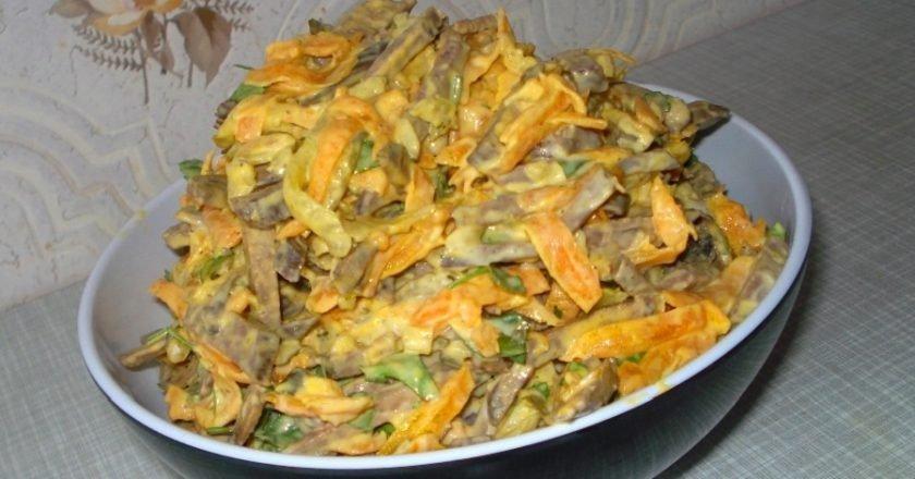 Печеночный салат с морковью