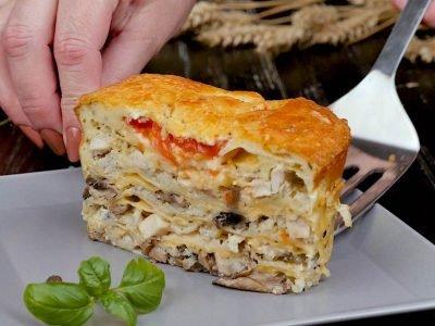 Ленивый пирог из лаваша с грибами и курицей