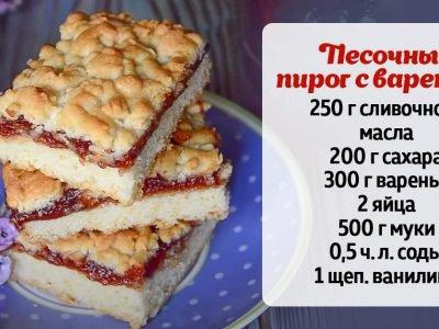 Австрийский пирог «Крошка» с вареньем