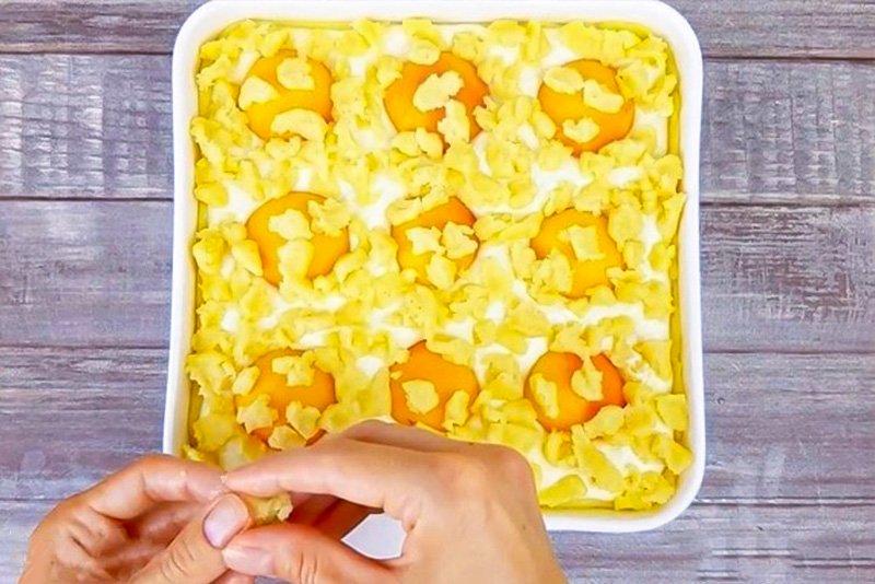 Пиріг з сиром і абрикосами в духовці