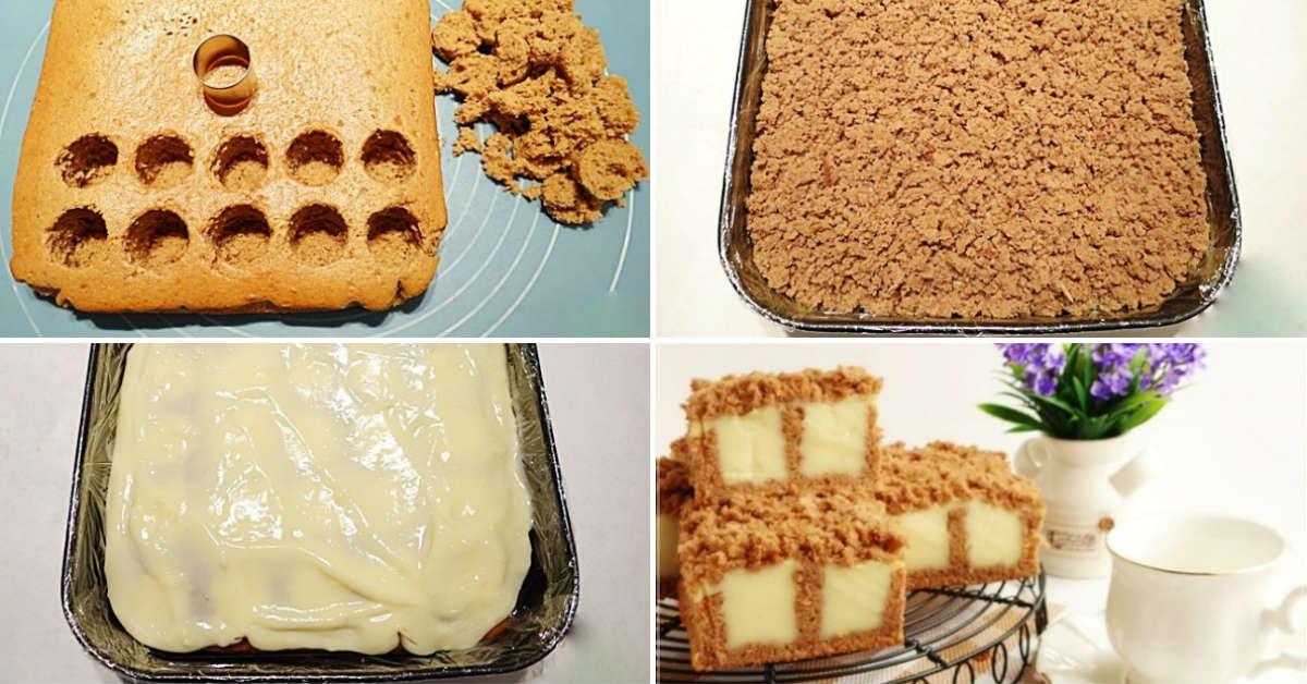 Бісквітний пиріг з ванільним пудингом
