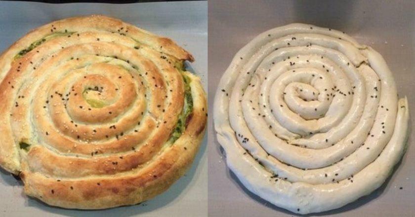 Пирог «Улитка» со шпинатом