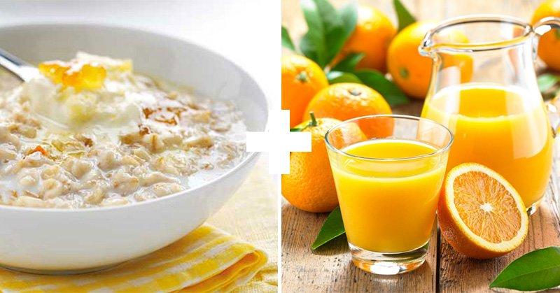 каша и апельсиновый сок