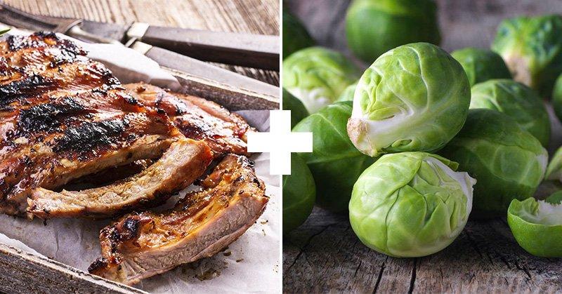 свинина и брюссельская капуста
