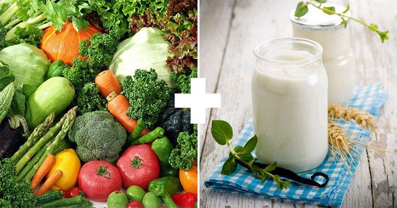 овощи и йогурт