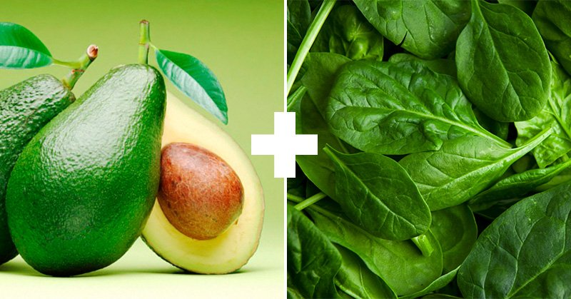 авокадо и шпинат
