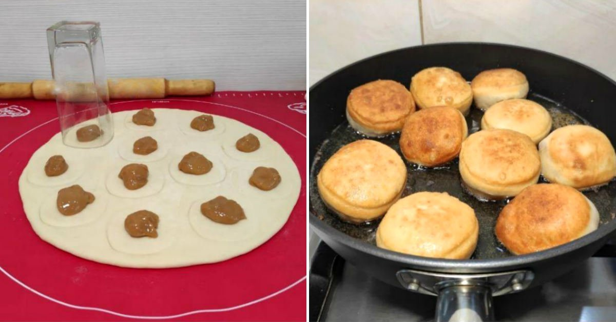 Пончики зі згущеним молоком на сковороді