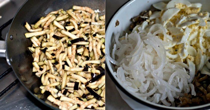 Салат из баклажанов с яйцами и курицей