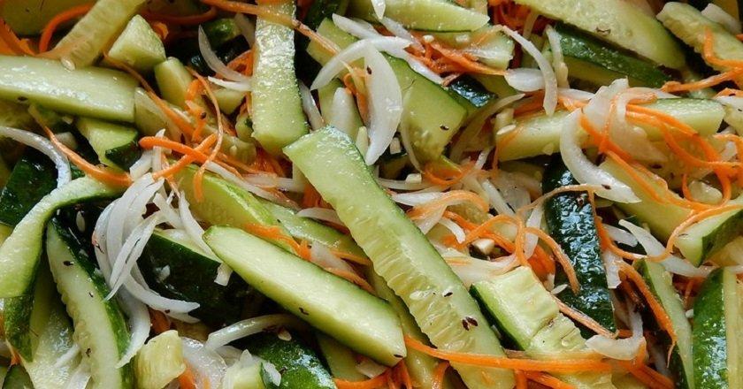 Салат из моркови и огурца
