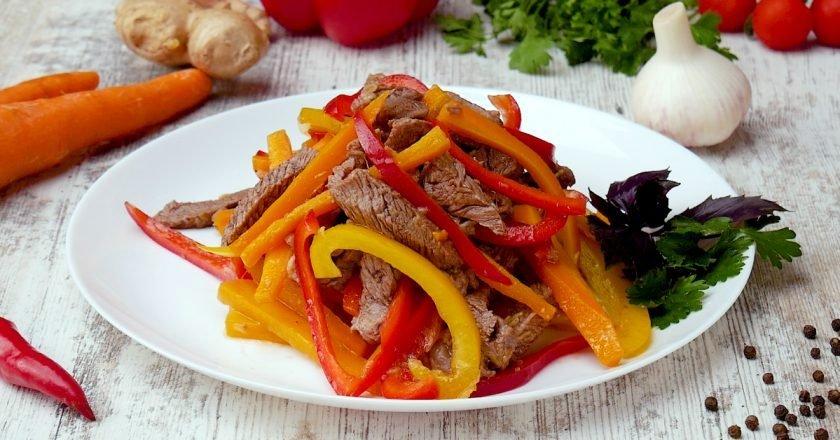 Салат из телятины с имбирной заправкой