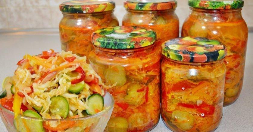 Салат на зиму из капусты и огурцов
