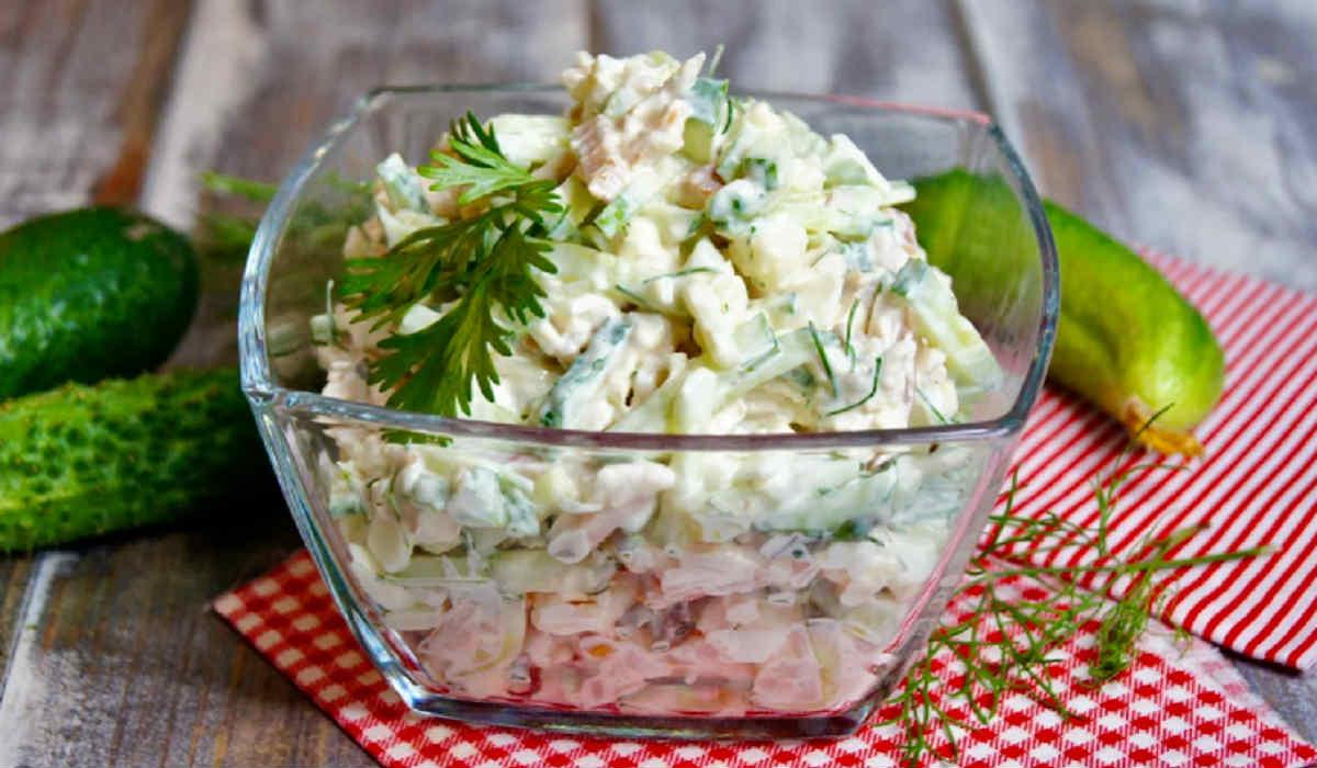 салат з бужениною і огірком