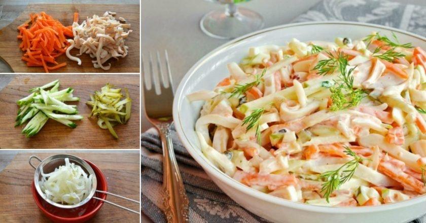 Легкий салат с кальмаром и огурцом