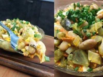 Салат с консервированной фасолью и огурцом