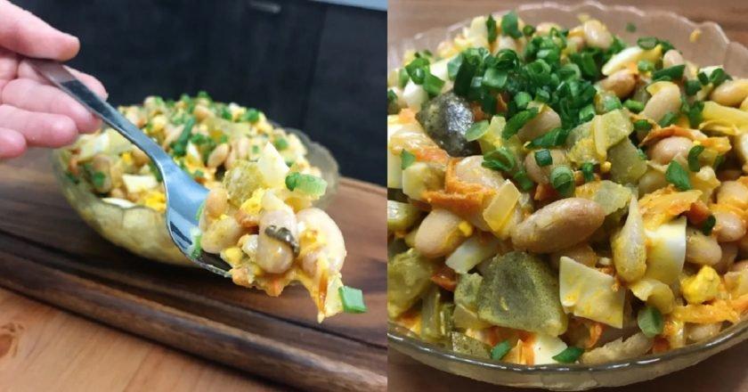 Салат з консервованою квасолею і огірком подивитися рецепт