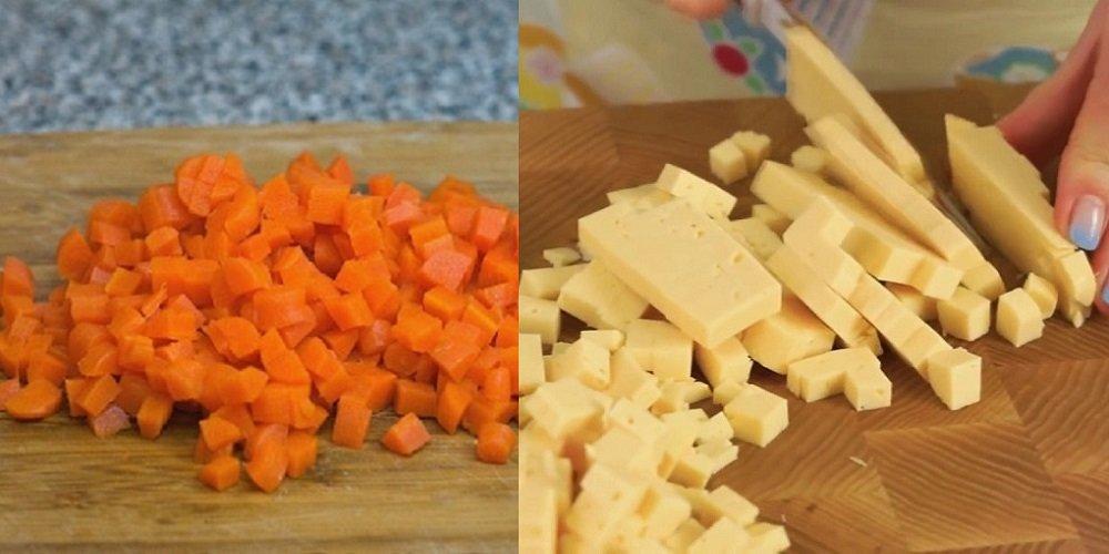сыр и морковь кубиками