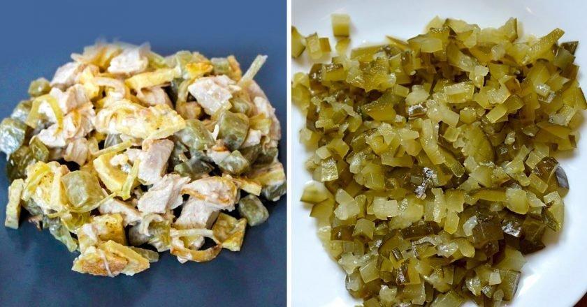 Салат с омлетом и огурцами