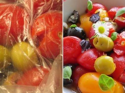 Салат с помидорами черри «Расплющенный»