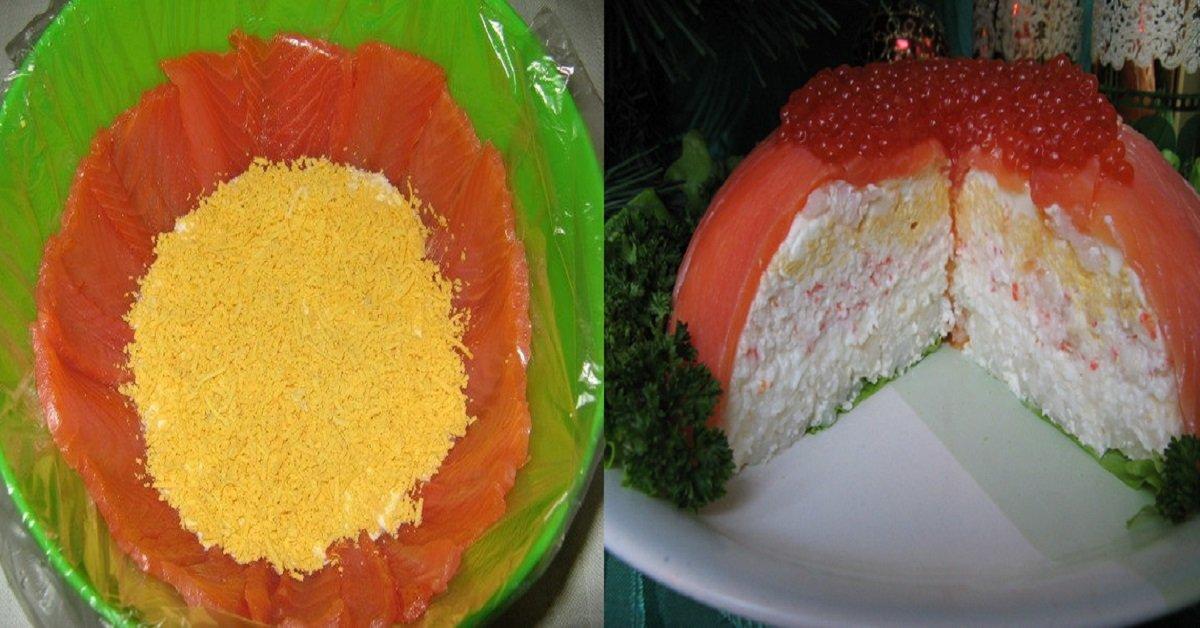Салат из семги красной икры и креветок рецепты с