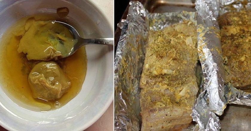 Сало с горчицей в духовке