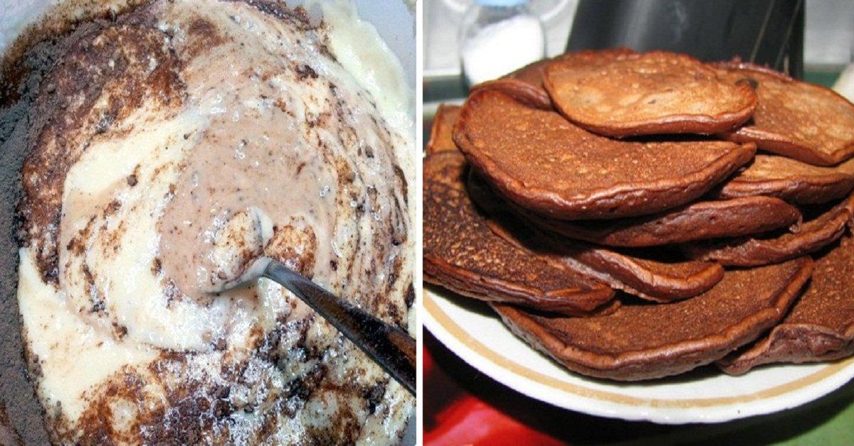Шоколадные оладьи на кефире пышные рецепт с фото пошагово