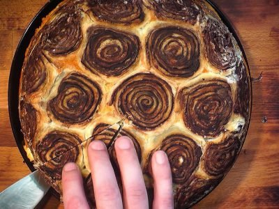 Сладкий пирог из слоеного теста