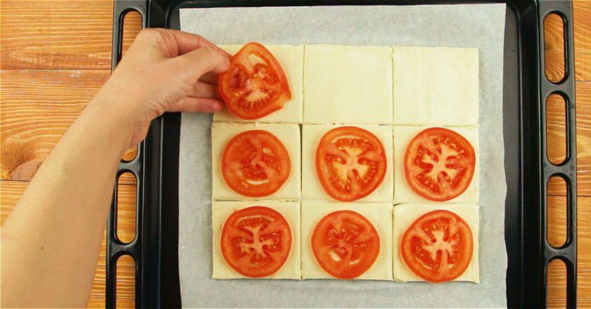 Слойки с помидорами