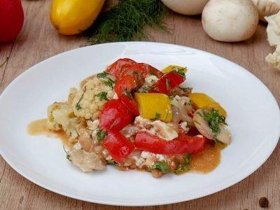 Соте из овощей с фасолью и тофу