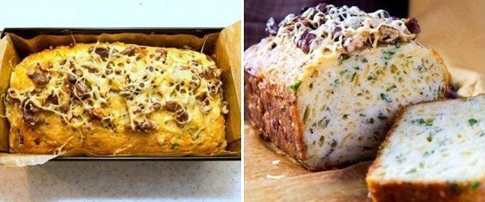 Кекс с сыром и зеленью, пошаговое приготовление