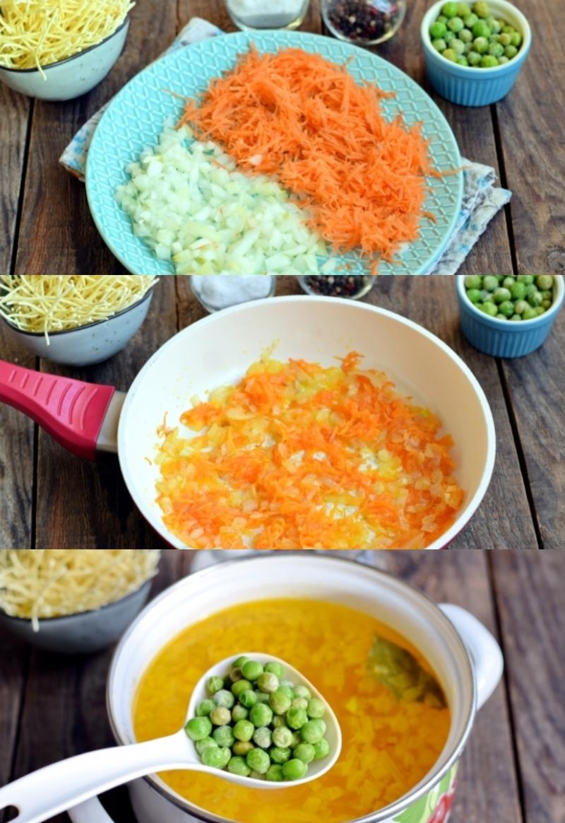 сырный суп с замороженным горошком
