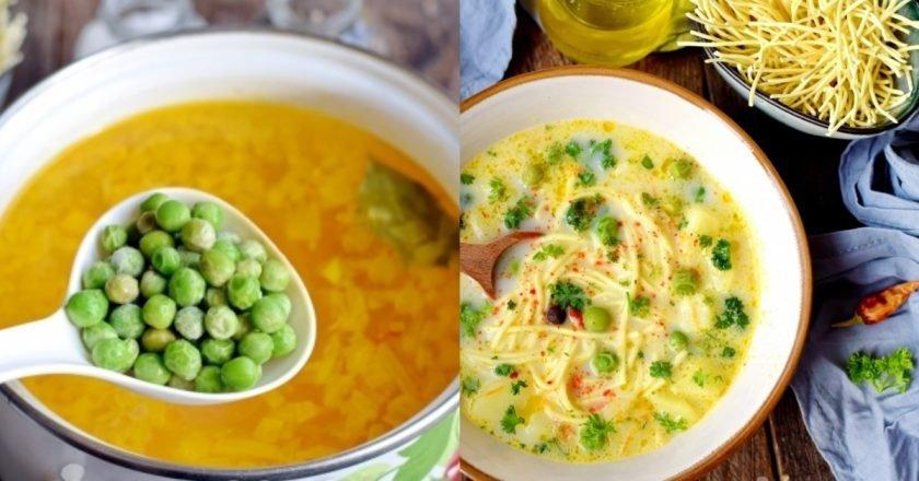 Сырный суп с горошком