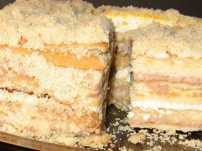 Торт без выпечки с бананом