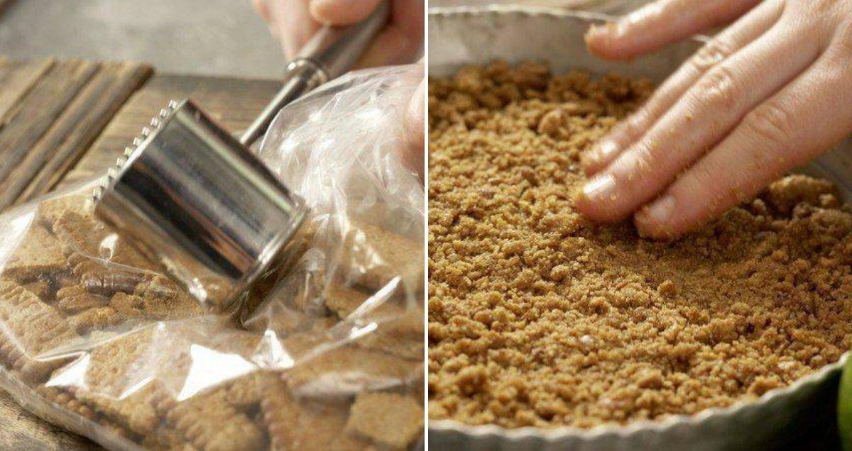 крошка из песочного печенья и основа для торта в форме
