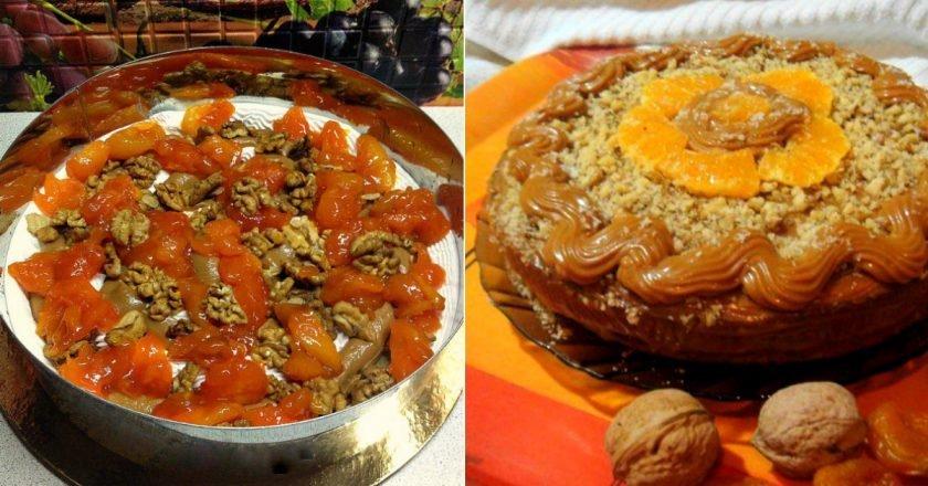 Легендарний бісквітний торт «Вриндаван» з курагою подивитися рецепт