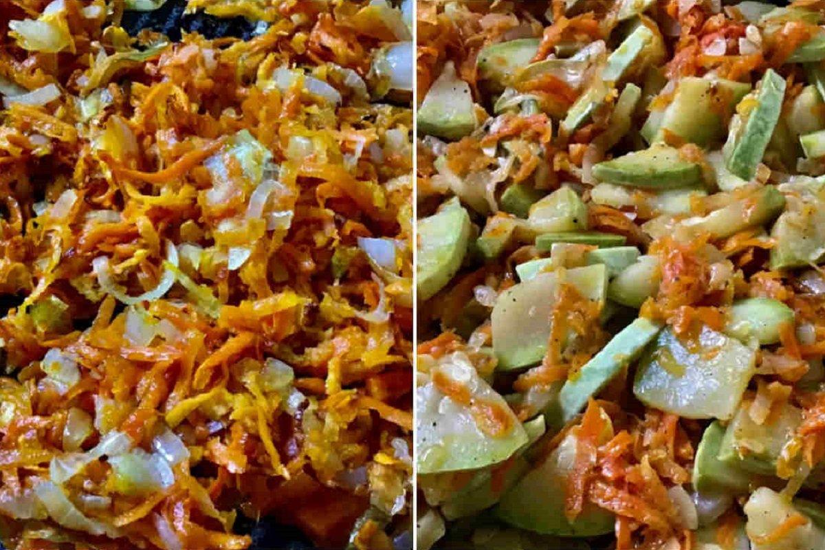 Кабачки, тушковані з цибулею і морквою в сметані