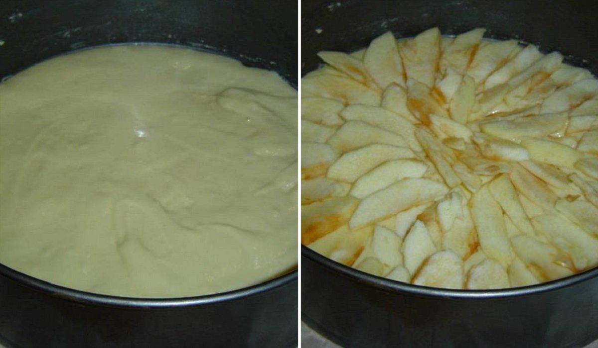 тесто и яблоки в форме