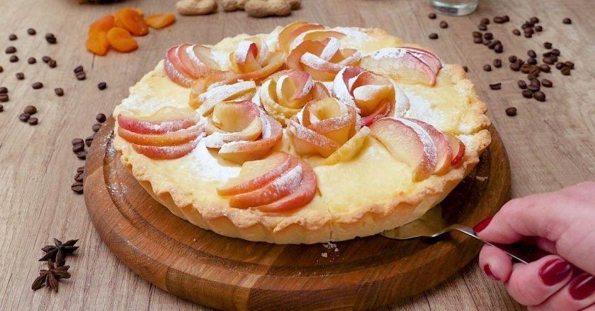 Яблочный тарт с заварным кремом