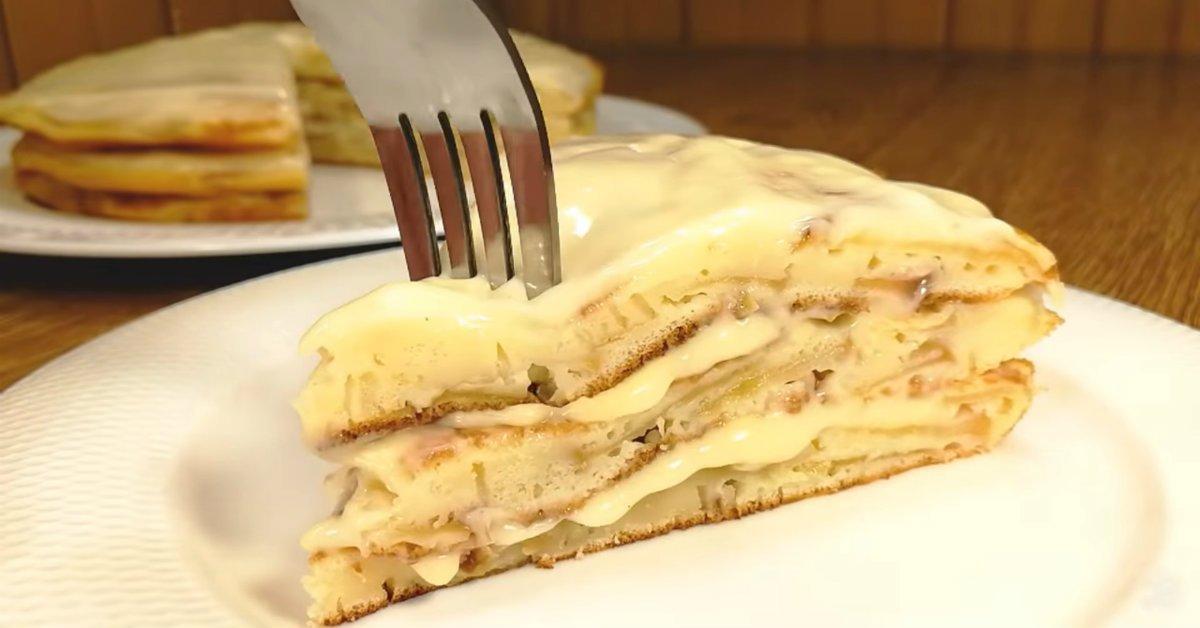 яблочный торт с кремом