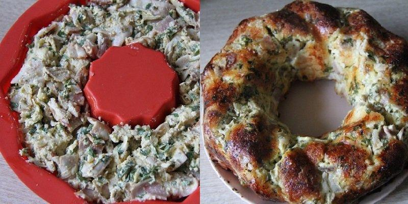 закусочный пирог с беконом и сыром