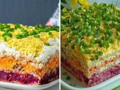 Закусочный торт с селедкой «Перевернутая шуба»