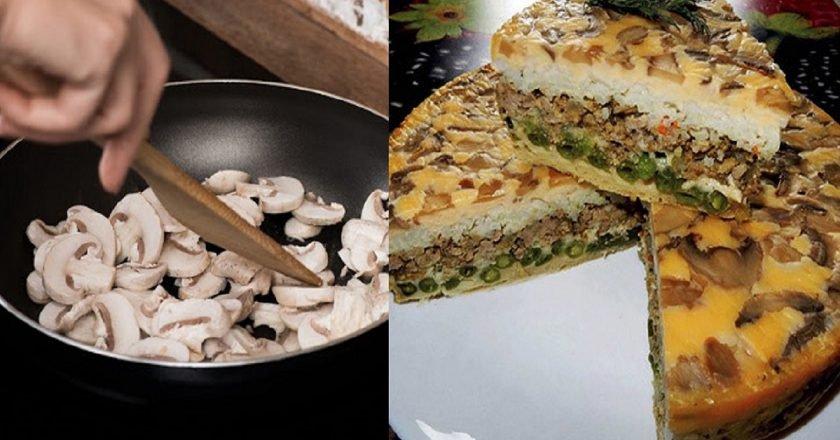 Заливной пирог с грибами на кефире