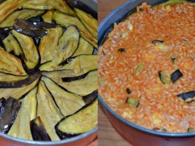 Запеканка из риса с баклажанами